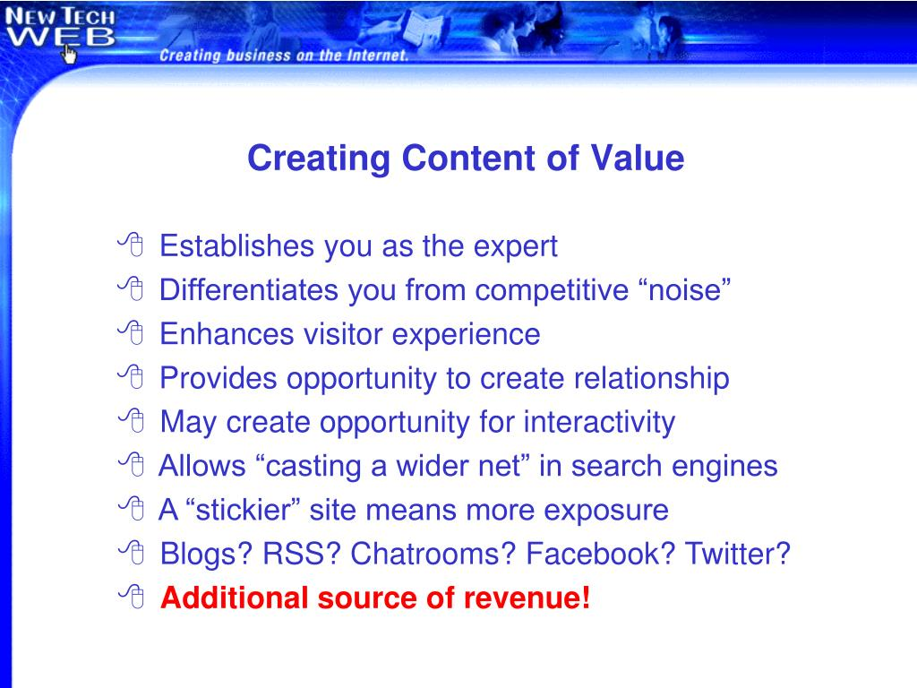 Creating Content of Value
