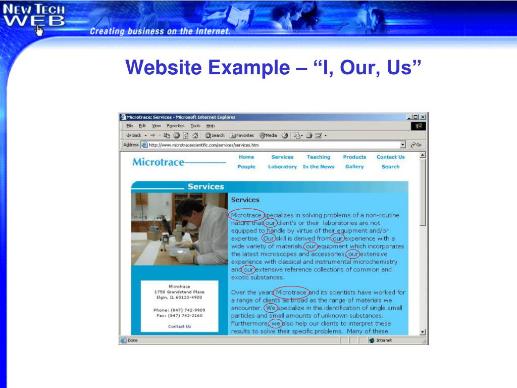 "Website Example – ""I, Our, Us"""