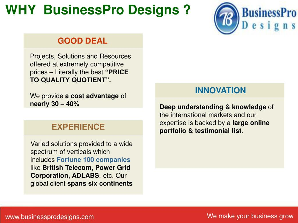 WHY  BusinessPro Designs ?