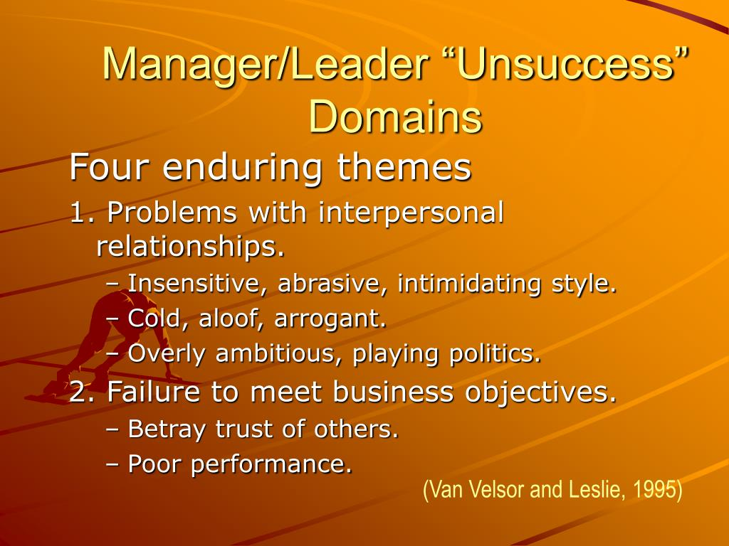 "Manager/Leader ""Unsuccess"" Domains"