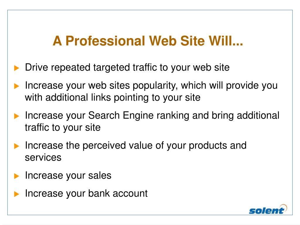 A Professional Web Site Will...