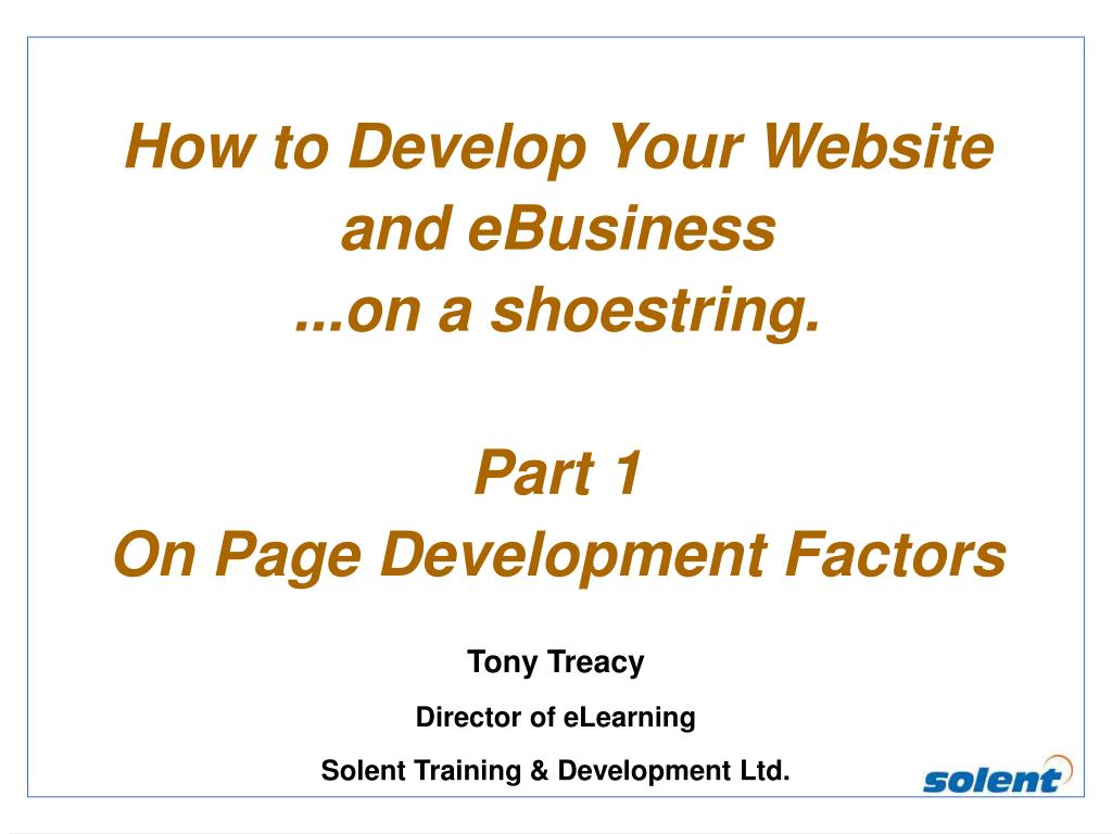 How to Develop Your Website and eBusiness
