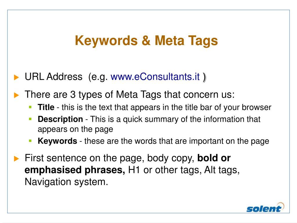 Keywords & Meta Tags