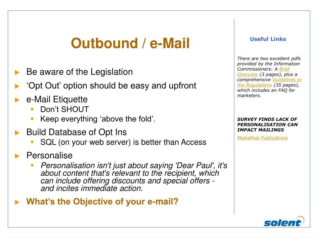 Outbound / e-Mail