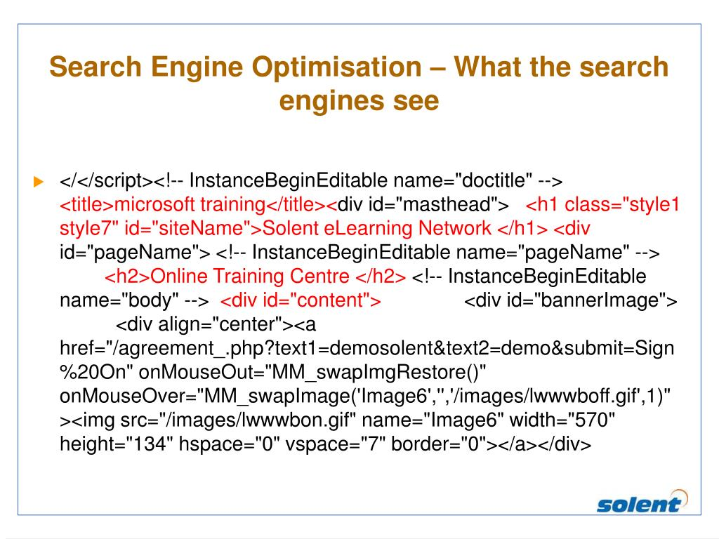 Search Engine Optimisation – What the search engines see