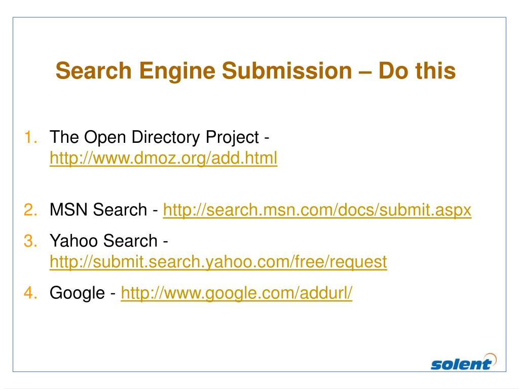 Search Engine Submission – Do this