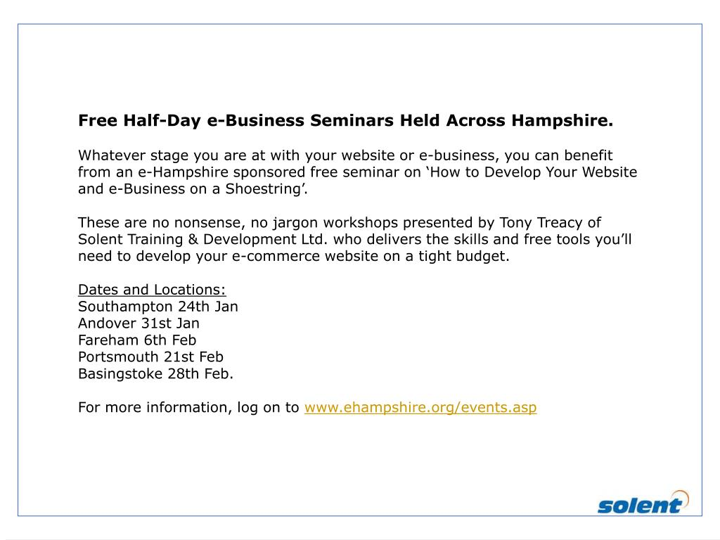 Free Half-Day e-Business Seminars Held Across Hampshire.