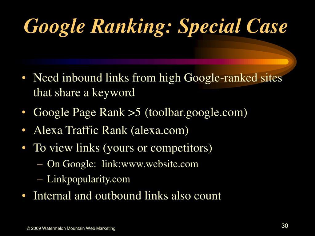 Google Ranking: Special Case
