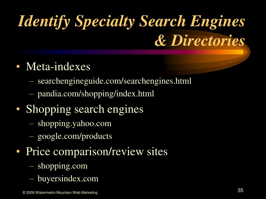 Identify Specialty Search Engines & Directories