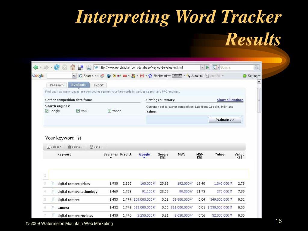 Interpreting Word Tracker Results