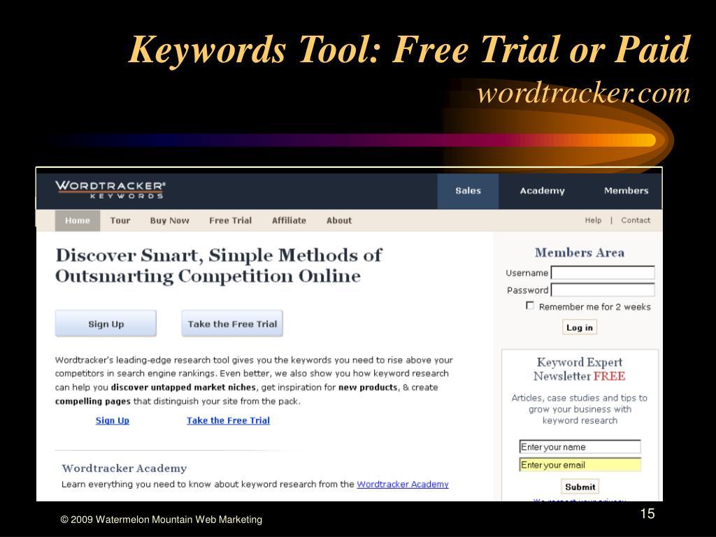 Keywords Tool: Free Trial or Paid