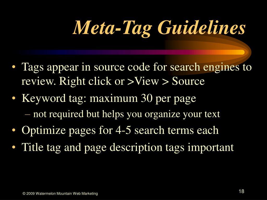Meta-Tag Guidelines