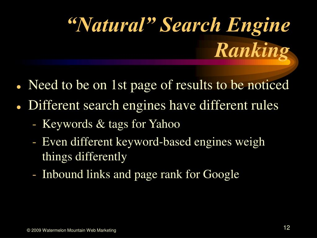 """""""Natural"""" Search Engine Ranking"""