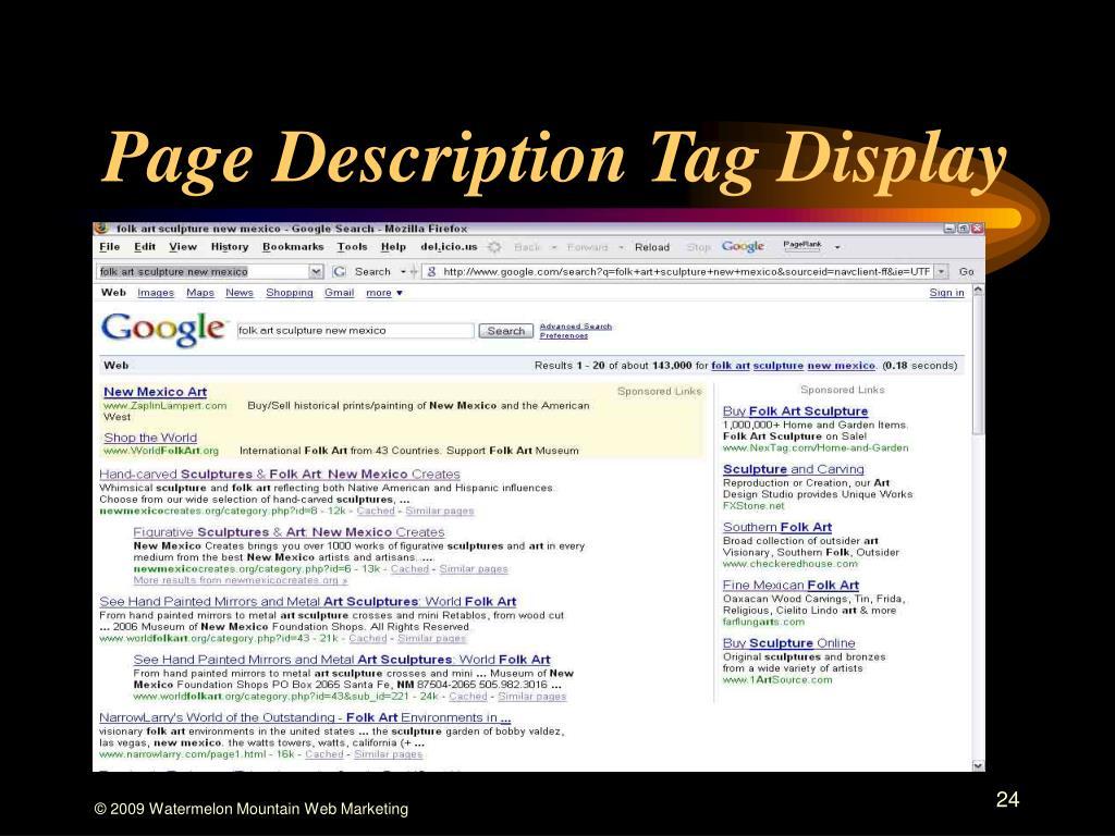 Page Description Tag Display