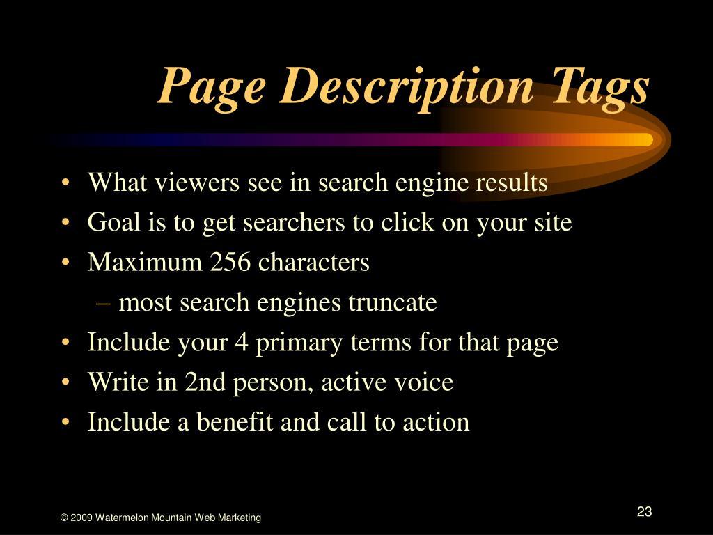 Page Description Tags