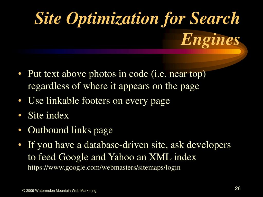 Site Optimization for Search Engines