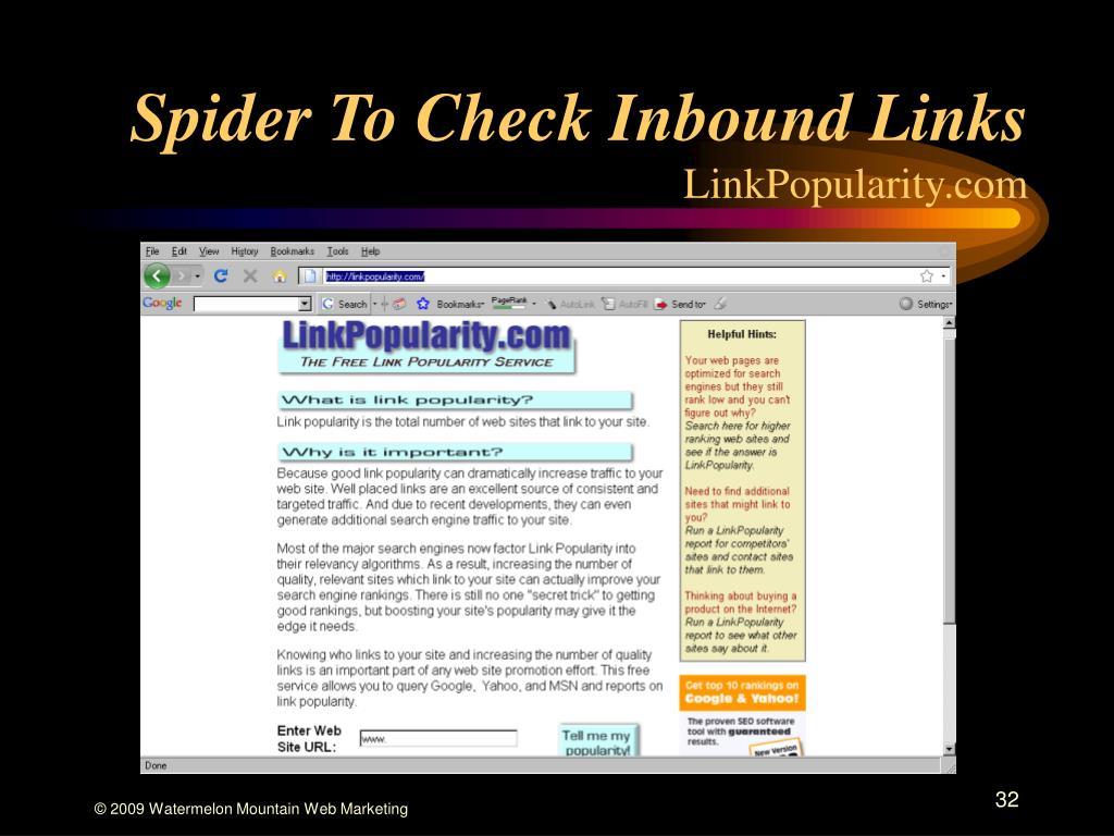 Spider To Check Inbound Links