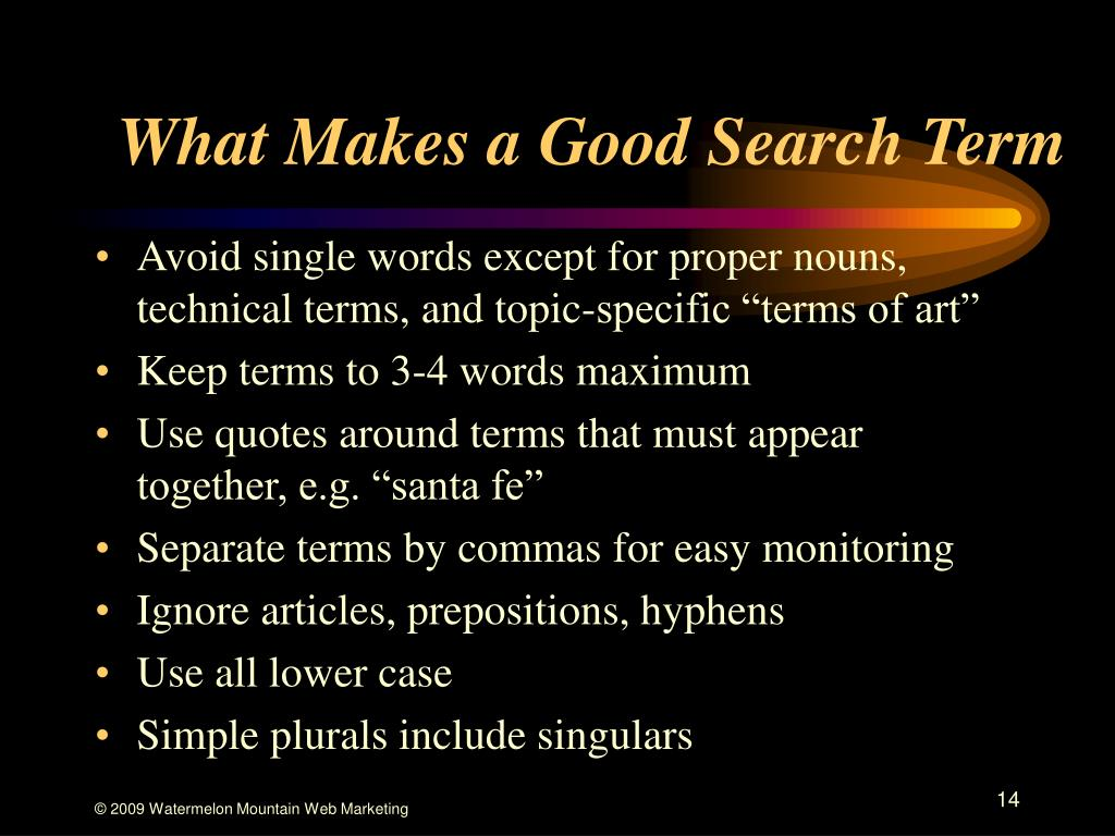 What Makes a Good Search Term