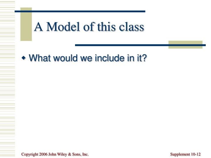A Model of this class