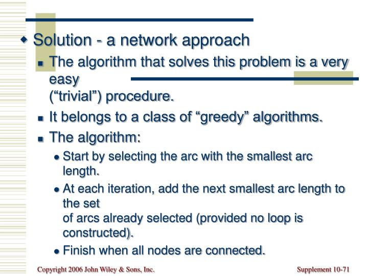 Solution - a network approach