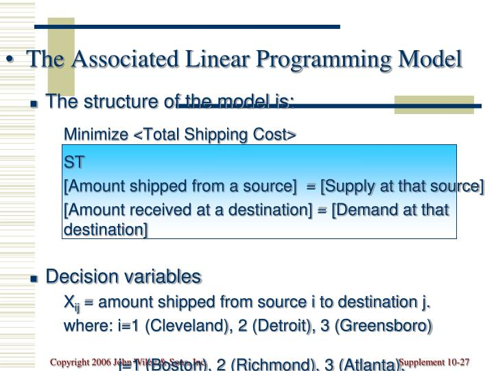 The Associated Linear Programming Model