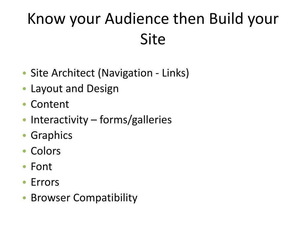 Know your Audience then Build your Site