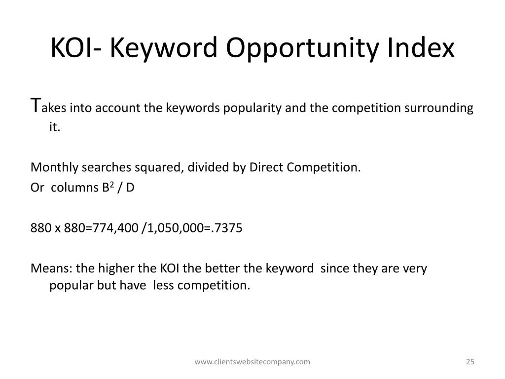 KOI- Keyword Opportunity Index