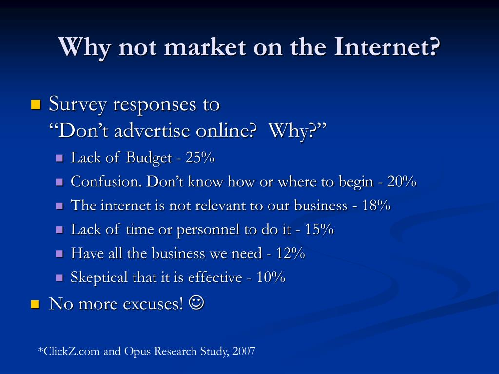 Why not market on the Internet?