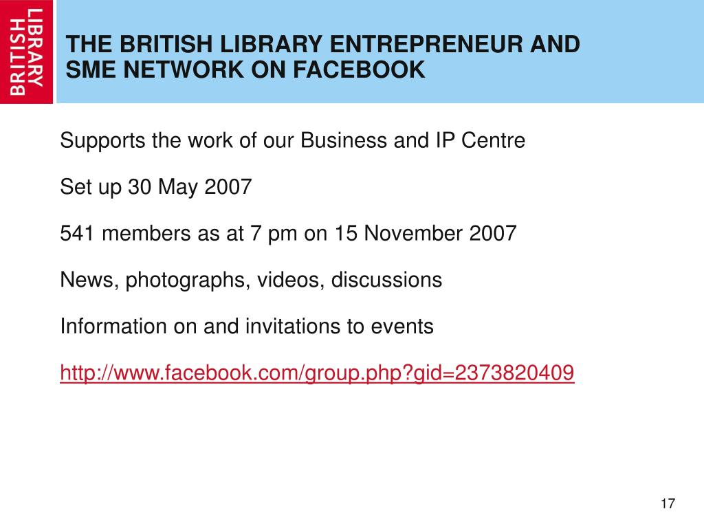 THE BRITISH LIBRARY ENTREPRENEUR AND