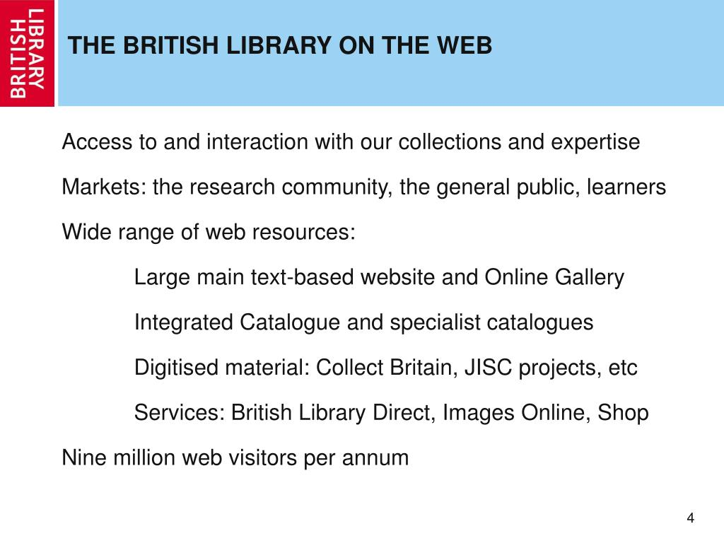 THE BRITISH LIBRARY ON THE WEB