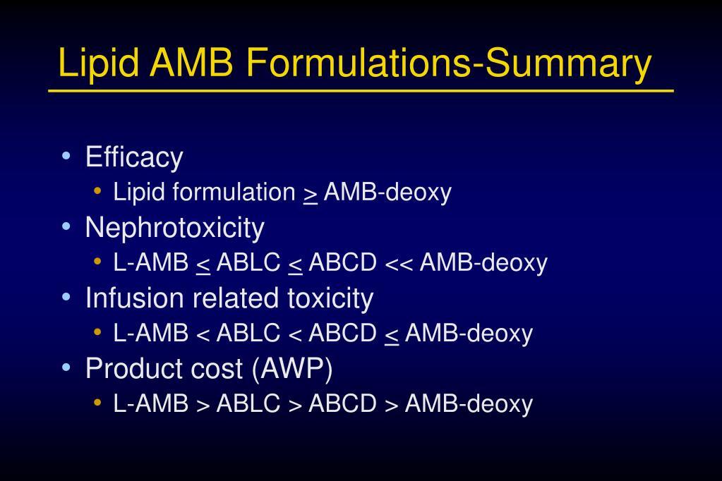 Lipid AMB Formulations-Summary
