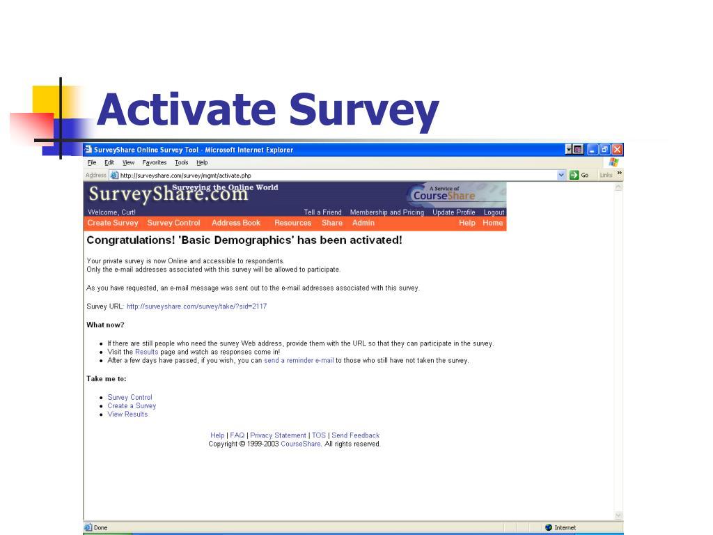 Activate Survey
