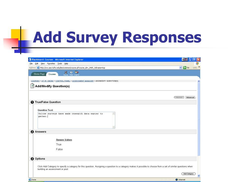 Add Survey Responses