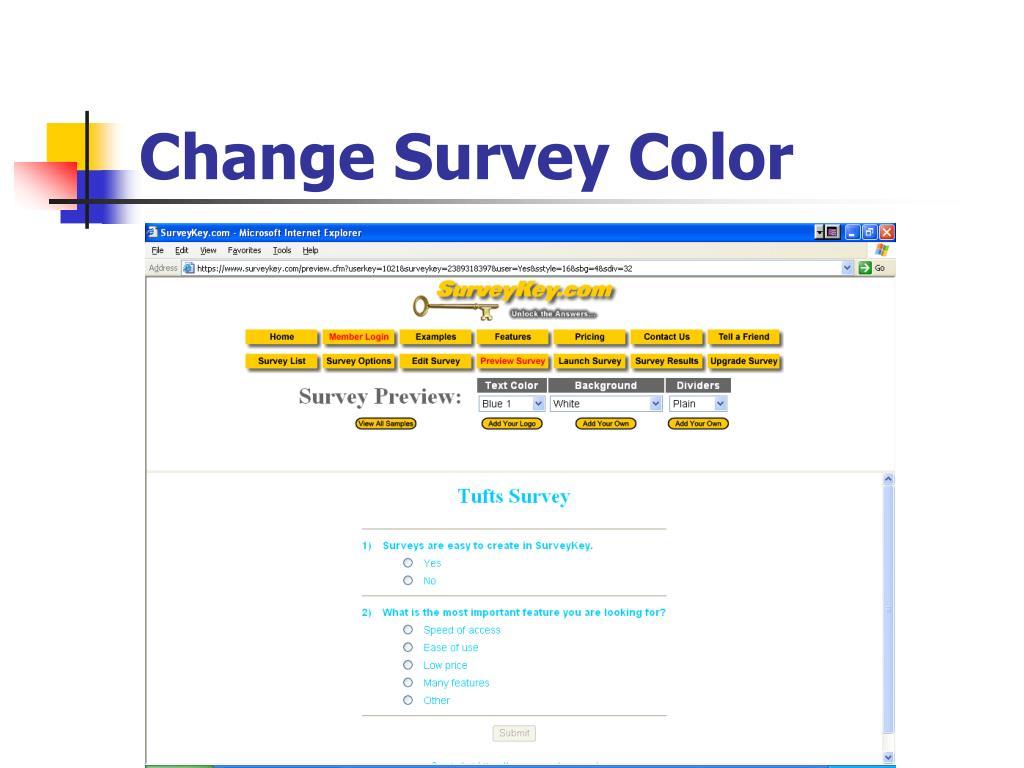 Change Survey Color