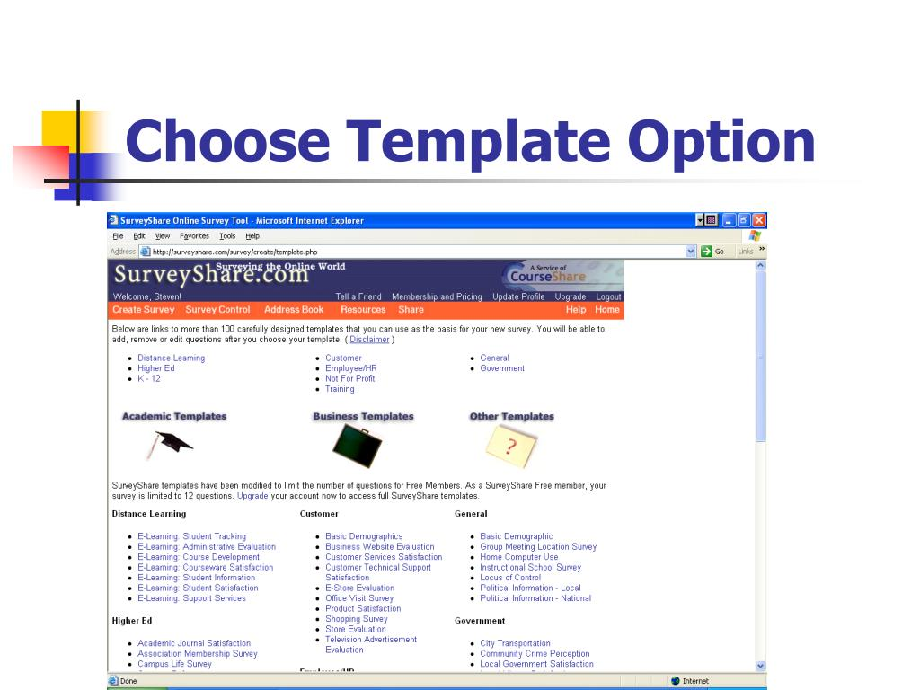 Choose Template Option