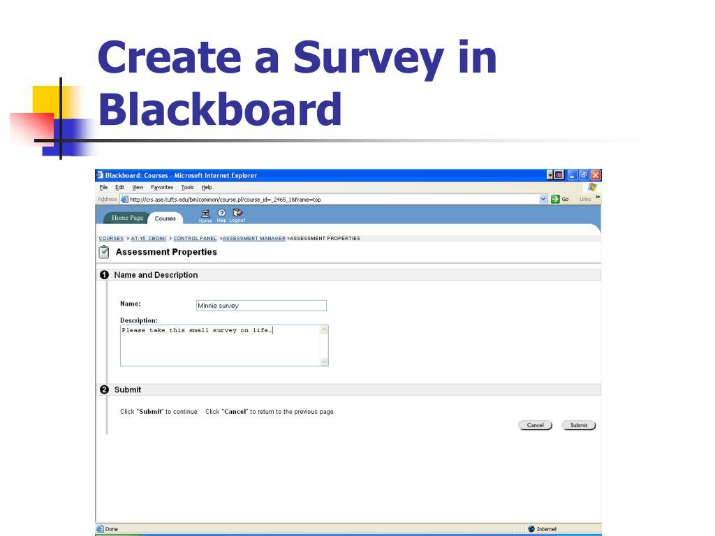 Create a Survey in Blackboard
