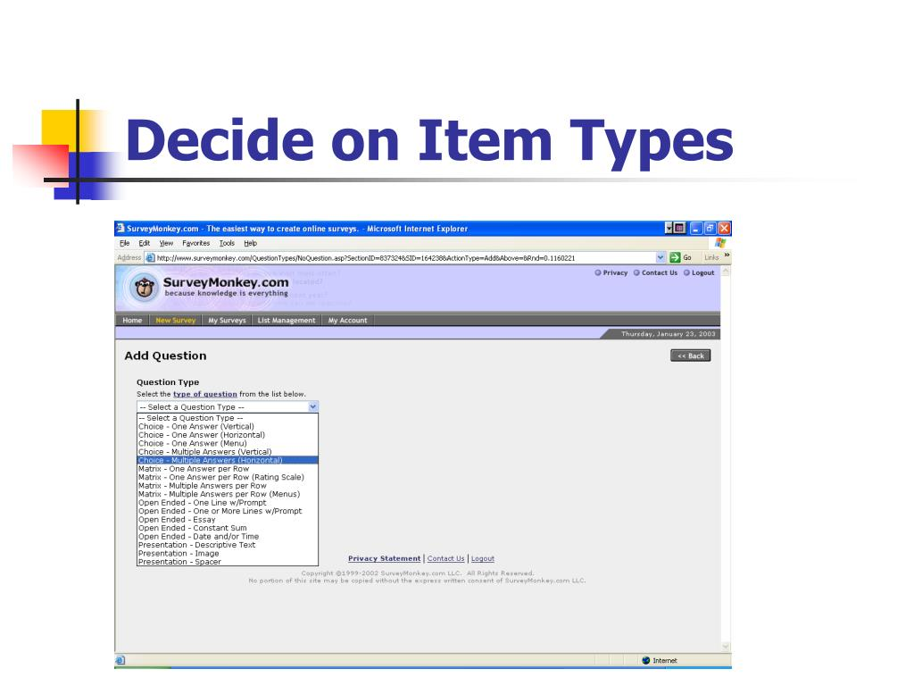 Decide on Item Types