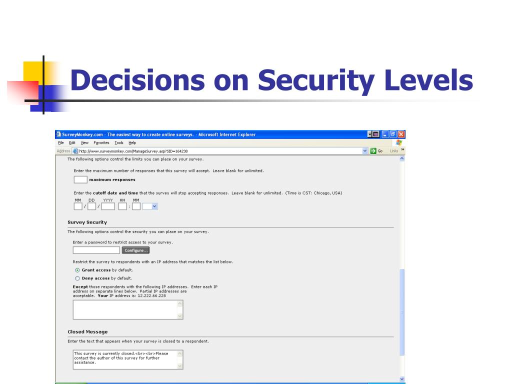 Decisions on Security Levels
