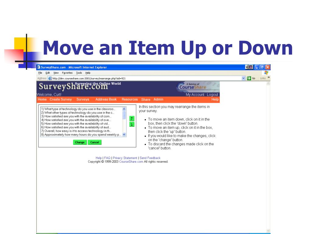 Move an Item Up or Down