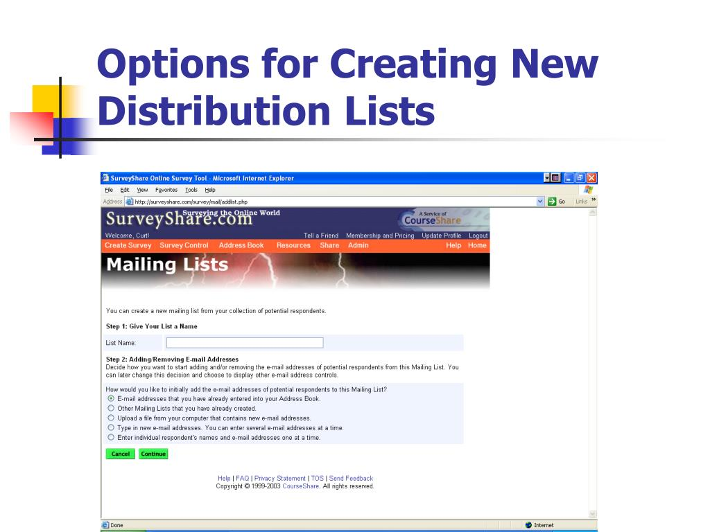 Options for Creating New Distribution Lists