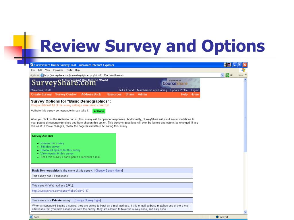 Review Survey and Options