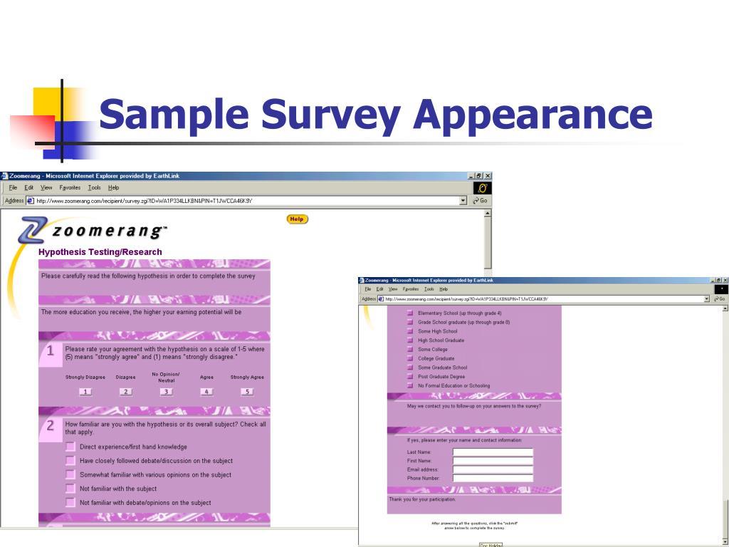 Sample Survey Appearance