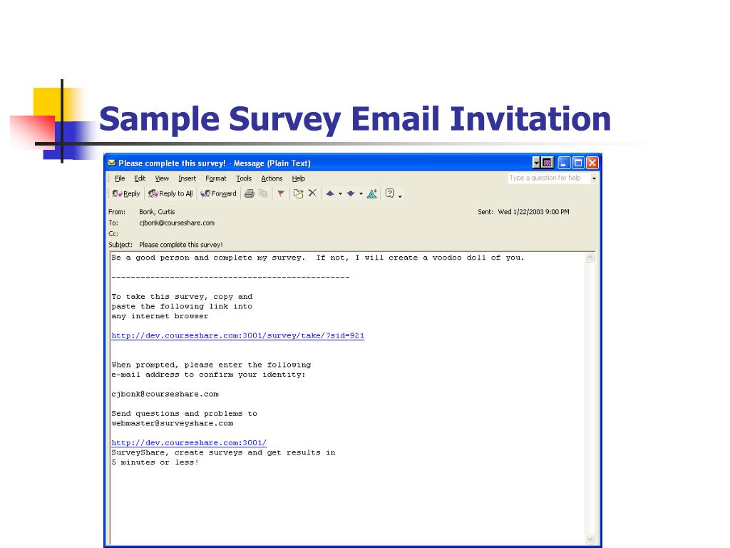 Sample Survey Email Invitation