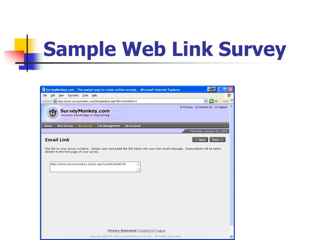Sample Web Link Survey