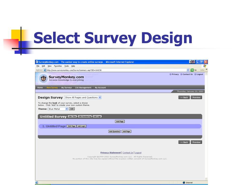 Select Survey Design