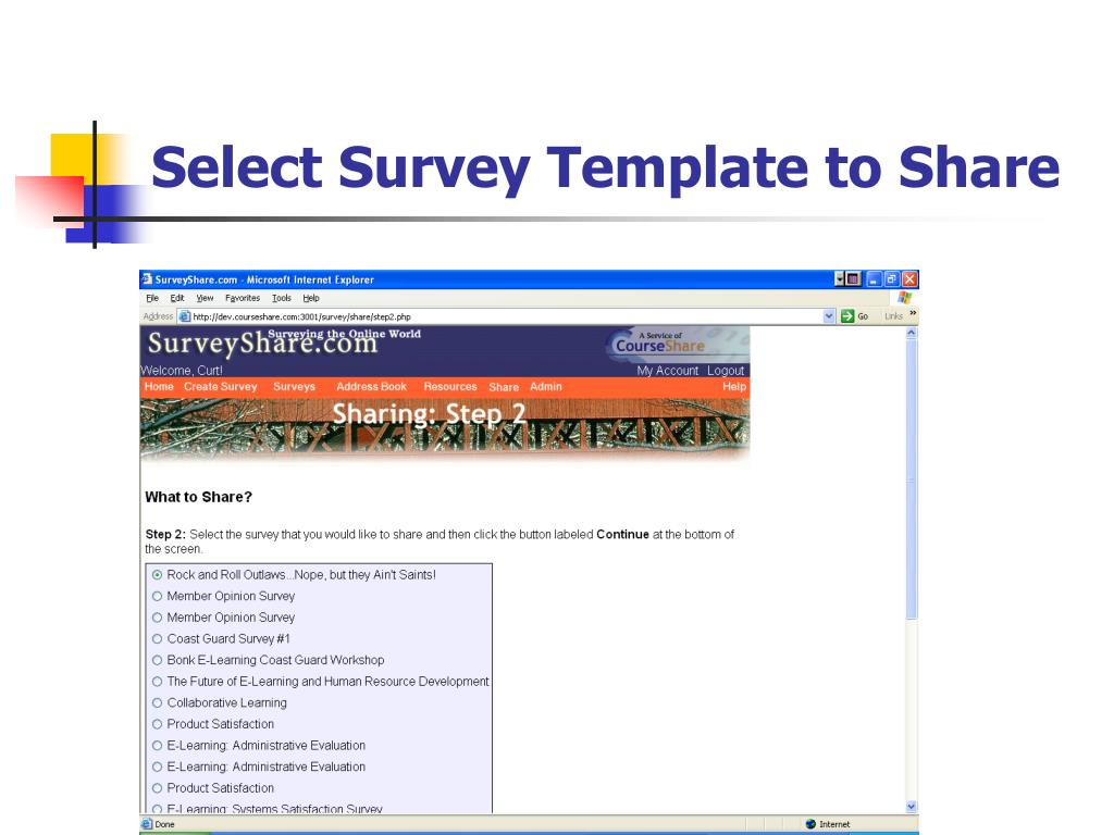 Select Survey Template to Share