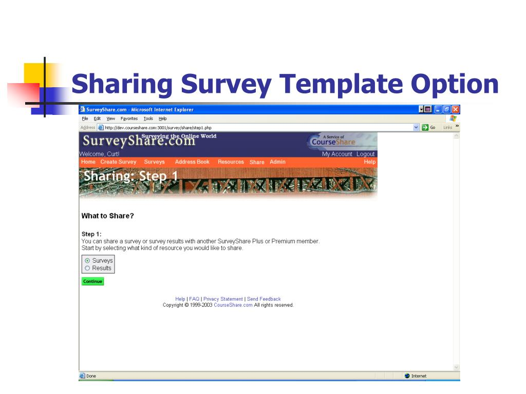 Sharing Survey Template Option