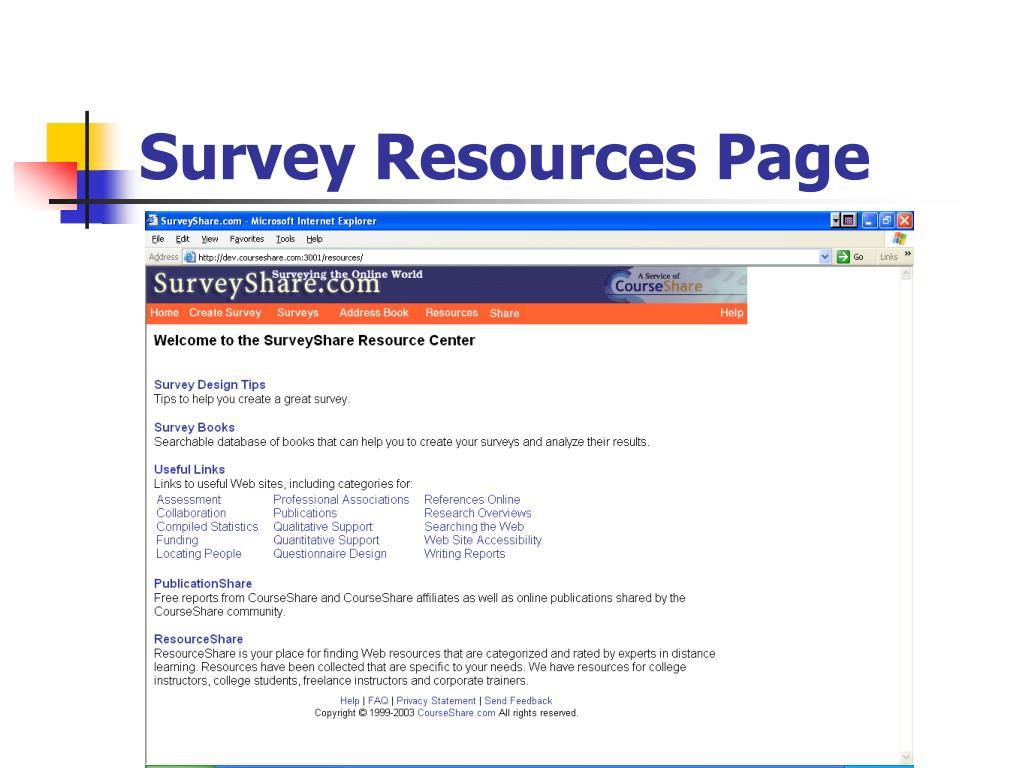 Survey Resources Page