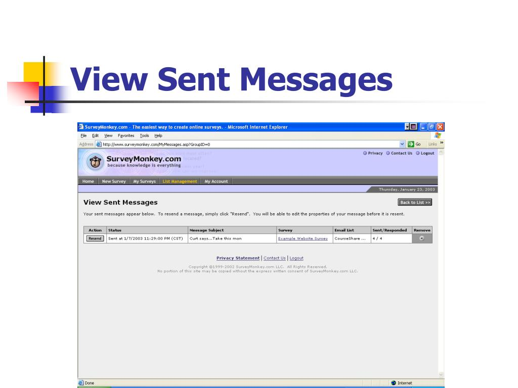 View Sent Messages
