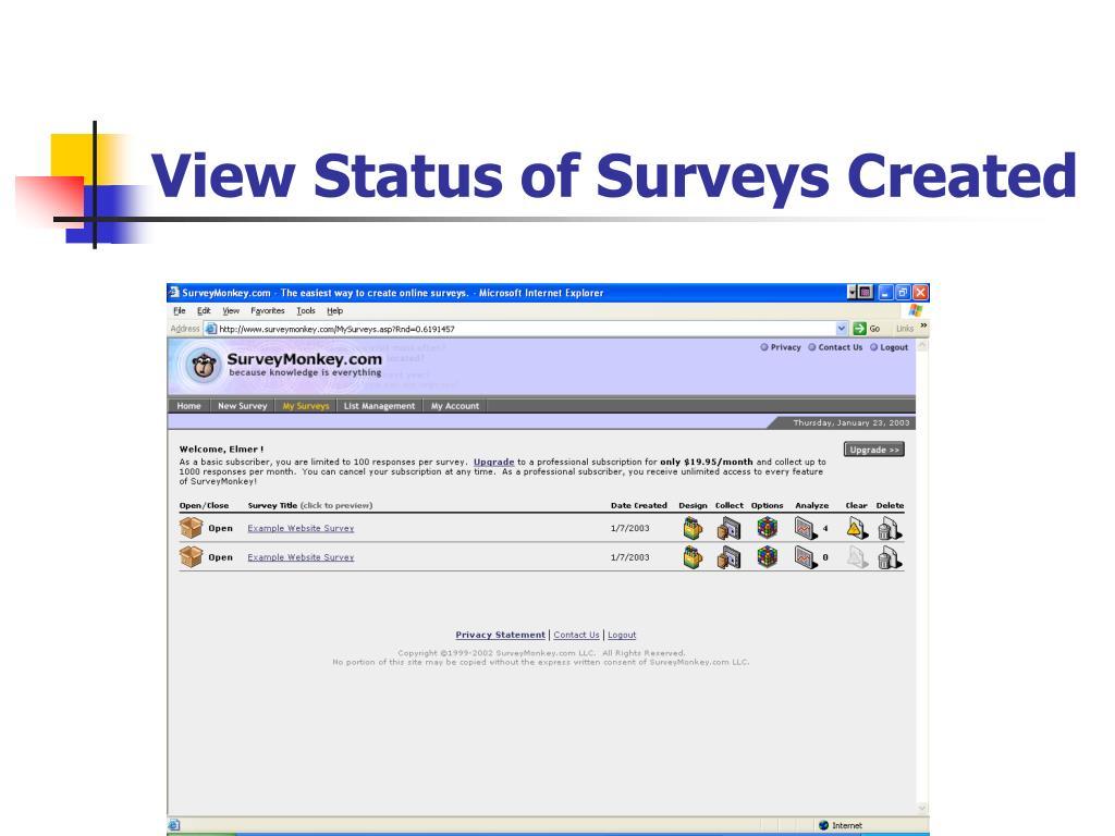 View Status of Surveys Created